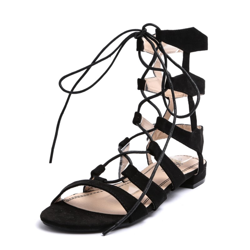 Zapatos Low Strings Heel esclavo de cuero Gladiator Eco 6vgy7YIbf